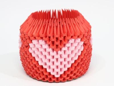 DIY: 3D Origami Brush.Pen Holder (Pink Heart)
