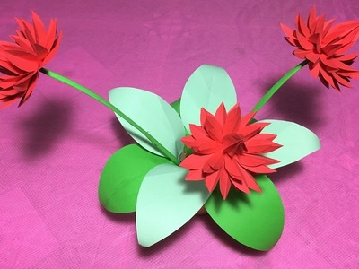 How to make origami lily flower.DIY origami flower lily.water lily folding craft