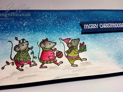 Merry Mice Blender Pen Faux Watercolouring Christmas Card
