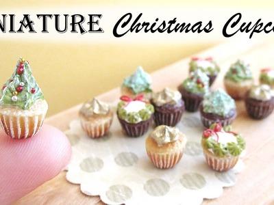 Miniature Polymer Clay Christmas Cupcakes Tutorial || Maive Ferrando