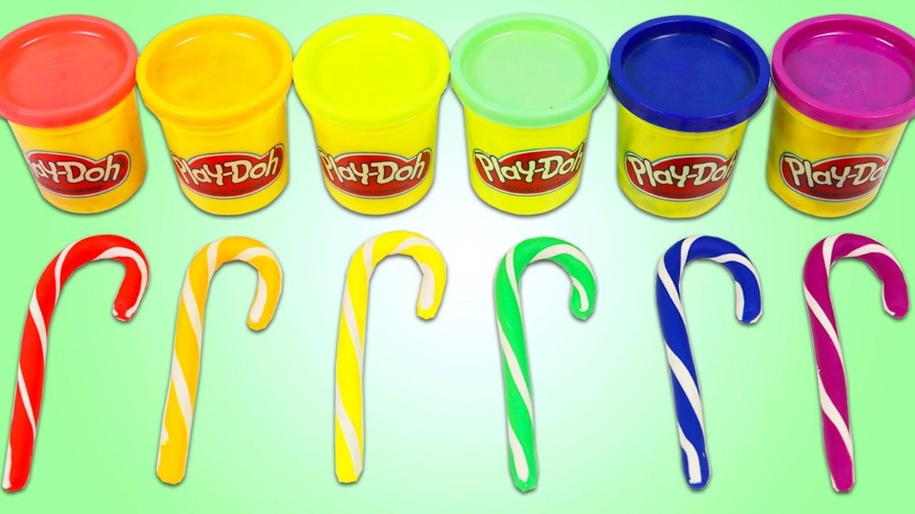 PLAY DOH Rainbow Candy Canes Fun & Easy DIY Christmas Holiday Play Dough Art!
