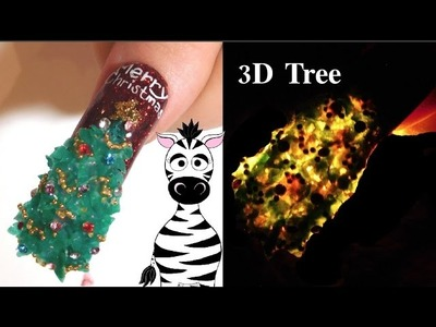 3D Christmas Tree Acrylic Nail Art Design Tutorial | Lights Shine Through