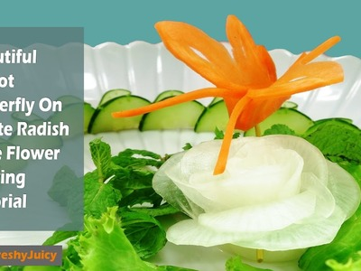 Beautiful Carrot Butterfly Carving Garnish – How To Make Butterfly *Tutorial*