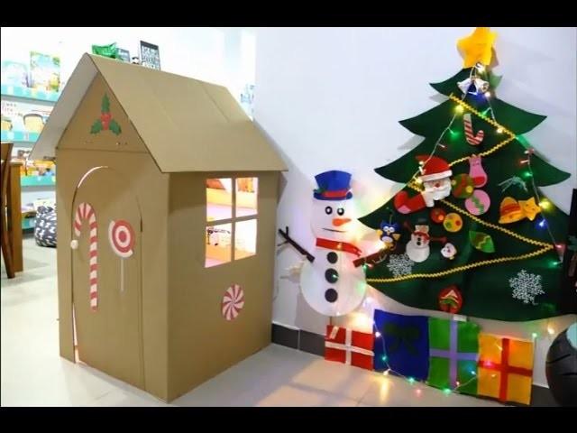 Building A Playhouse by Cardboard Box | DIY Playhouse | Làm nhà cho bé chơi.