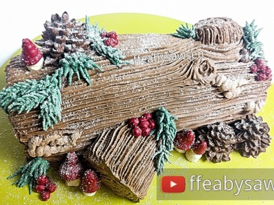 Chocolate Yule log cake. Buche de Noel tutorial & recipe - Christmas cake decorating
