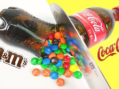 DIY Coca Cola Bottle Shape Gummy Jelly Dessert & M&M's Chocolate & Make Colors Crystal Cup Jello