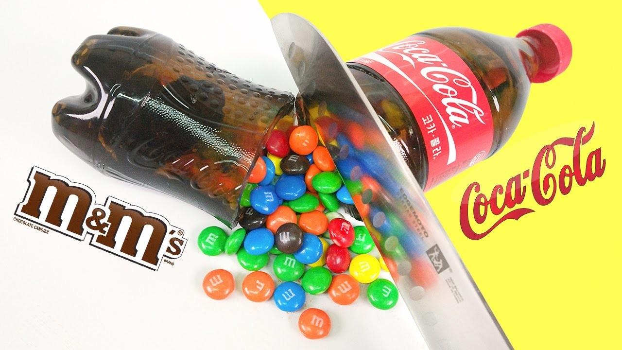 DIY Coca Cola Bottle Shape Gummy Jelly Dessert & M&M's Chocolate & Make Colors Crystal Cup Jello