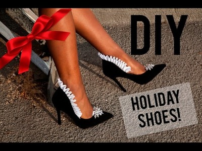 DIY Make The Perfect Holiday Shoes!  (Ruffle jewel heel)