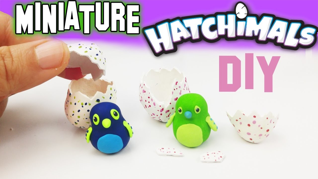 DIY MINIATURE HATCHIMALS Polymer Clay Tutorial | How to make dollhouse diy craft