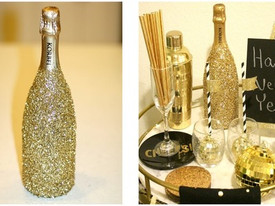 Glittery Champagne Bottle DIY! + New Year's Decorating Ideas + Target Dollar Spot Haul!