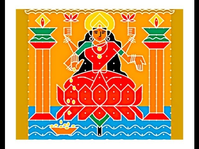 How to Make Goddess Lakshmi rangoli |Sacred Symbols to Invite Goddess Lakshmi |mahalakshmi drawing