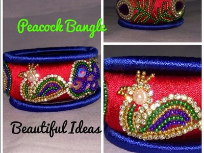 How to Make Silk Thread Peacock Design Bangle  ( Bridal Kada Bangle ) At Home