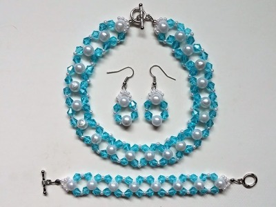 Simple and elegant DIY jewelry set.Beginners beading project.