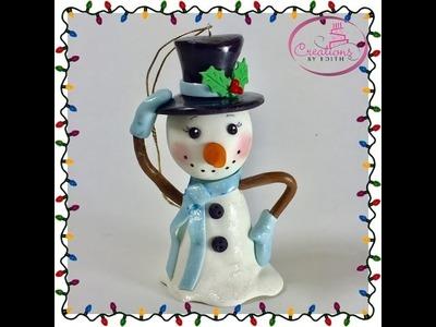 Snowman.hombre de nieve tutorial in cold porcelain.gumpaste