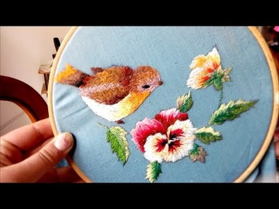 Bird & flowers embroidery | needle painting | ricamo