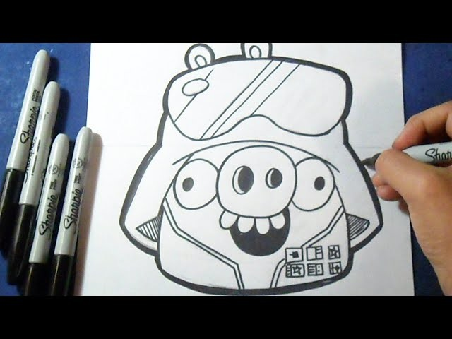 "Cómo dibujar a Cerdo Rey Star wars  ""Angry Birds""   How to draw Pig angry birds"