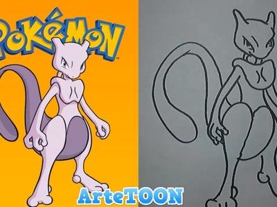 Como dibujar a newtwo | how to draw mewtwo pokemon
