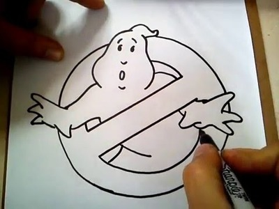 COMO DIBUJAR EL LOGO DE LOS CAZAFANTASMAS. HOW TO DRAW THE GHOSTBUSTERS LOGO