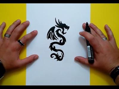 Como dibujar un dragon tribal paso a paso 3 | How to draw a tribal dragon 3