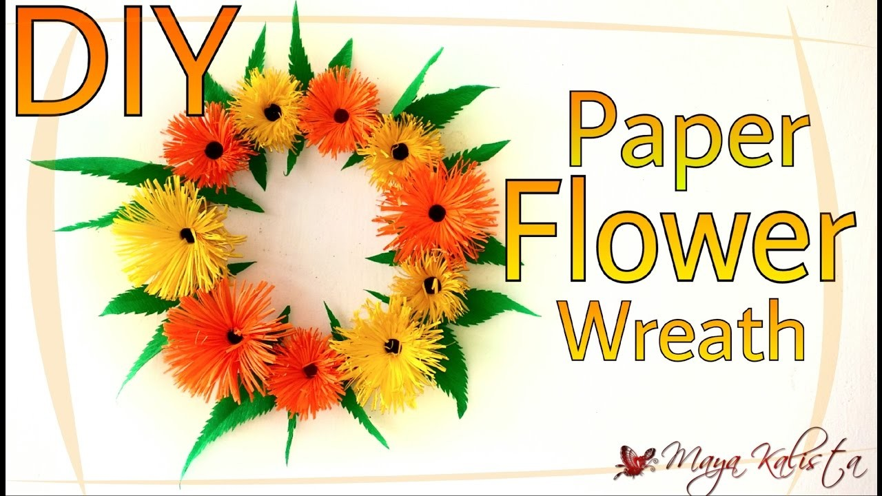 DIY Crafts: Paper Flower Wreath - How to Make Paper Crafts - Home Decor Ideas!