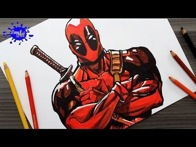 DRAWING DEADPOOL.How to draw Deadpool. Como dibujar a deadpool