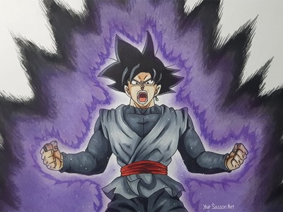 Drawing Goku Black Powering Up