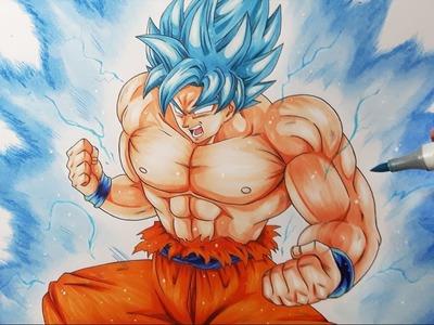 Drawing Goku ULTRA Super Saiyan BLUE | Drawing BATTLE VS  DIBUJAME UN, TOLG ART and MULA DRAWS