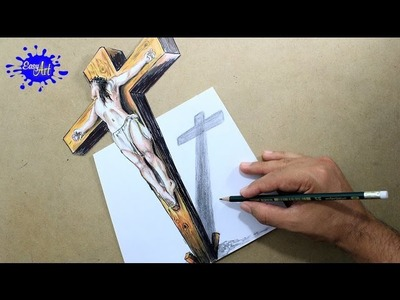 DRAWING JESUS ON  THE CROSS 3D. How to draw Jesus.semana santa.