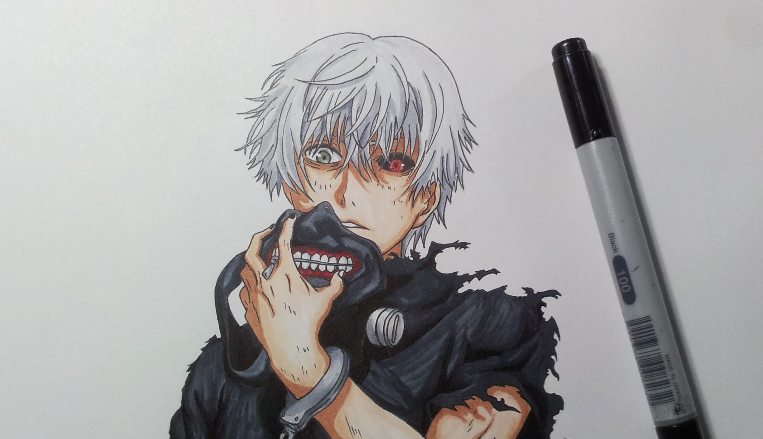 how to draw kaneki tokyo ghoul
