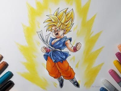 Drawing Kid Goku Super Saiyan - Dragon ball GT