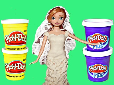 Frozen Wedding Anna Play Doh Wedding Dress Barbie Disney Princess Anna Bride Gown DisneyCarToys