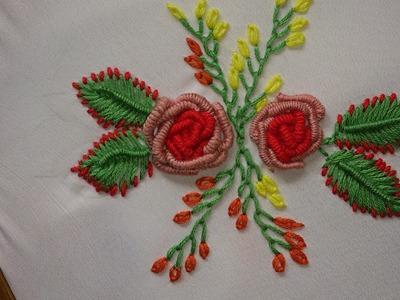 Hand embroidery bullion knot stitch, bullion knot rose.