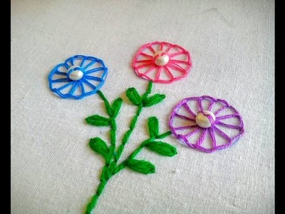 Hand Embroidery ~ Button hole Stitch ~ Floral Embroidery