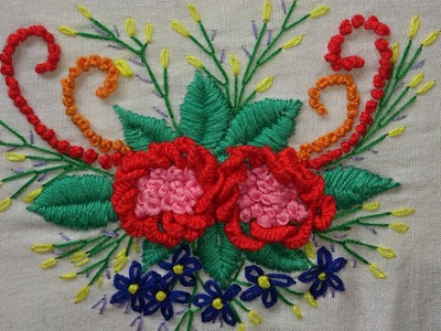 Hand embroidery-cast on stitch flowers-leisha's galaxy.