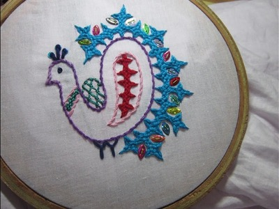 Hand Embroidery Designs | Gujrati peocock stitch | Stitch and Flower-84