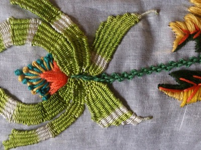 Hand embroidery designs. Embroidery stitches tutorial. Kadai Kamal stitch.