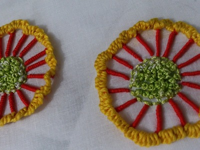 Hand embroidery designs. embroidery stitches tutorial. Button hole bullion knot wheel stitch.