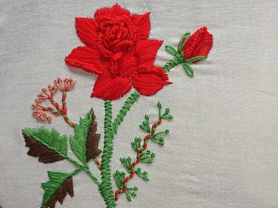 Hand embroidery designs. Hand embroidery for dresses.-Rose with satin, cast on stitch.