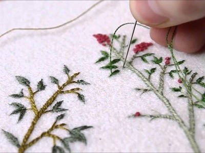 Hand embroidery: French Knots,  Bullion Knots, and Chain Stitch