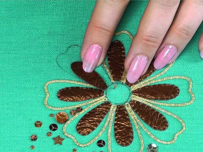 Hand Embroidery - Goldwork Applying leather tutorial.
