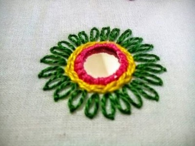 Hand Embroidery: Mirror Work Tutorial || Shisha Embroidery Design ||Lasy Daisy Stitch ||Chain Stitch