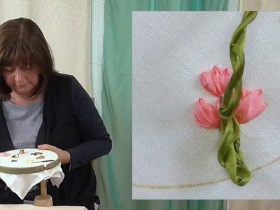 Hand Embroidery - Ribbon work padded straight stitch