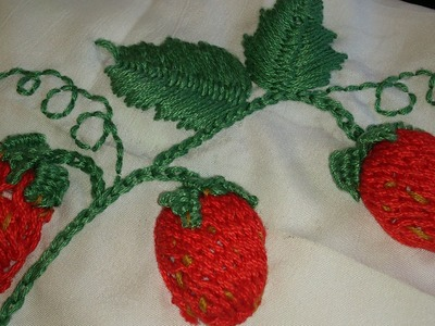 Hand embroidery--strawberries.