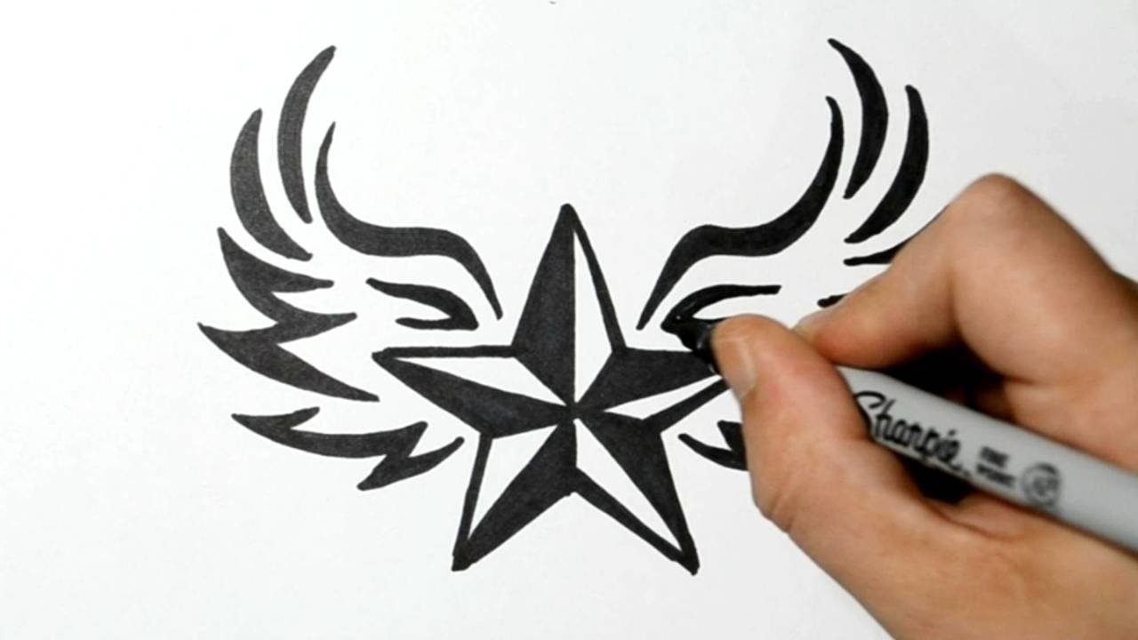 how to draw a nautical star with wings tribal style my crafts and diy projects. Black Bedroom Furniture Sets. Home Design Ideas