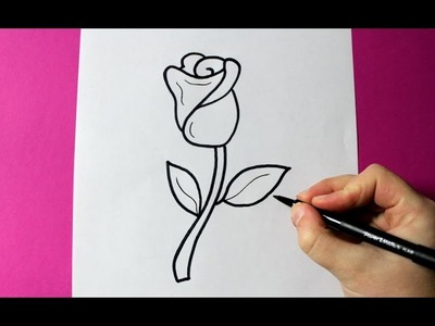 How to Draw a Rose - Como Dibujar una Rosa | EASY - FACIL