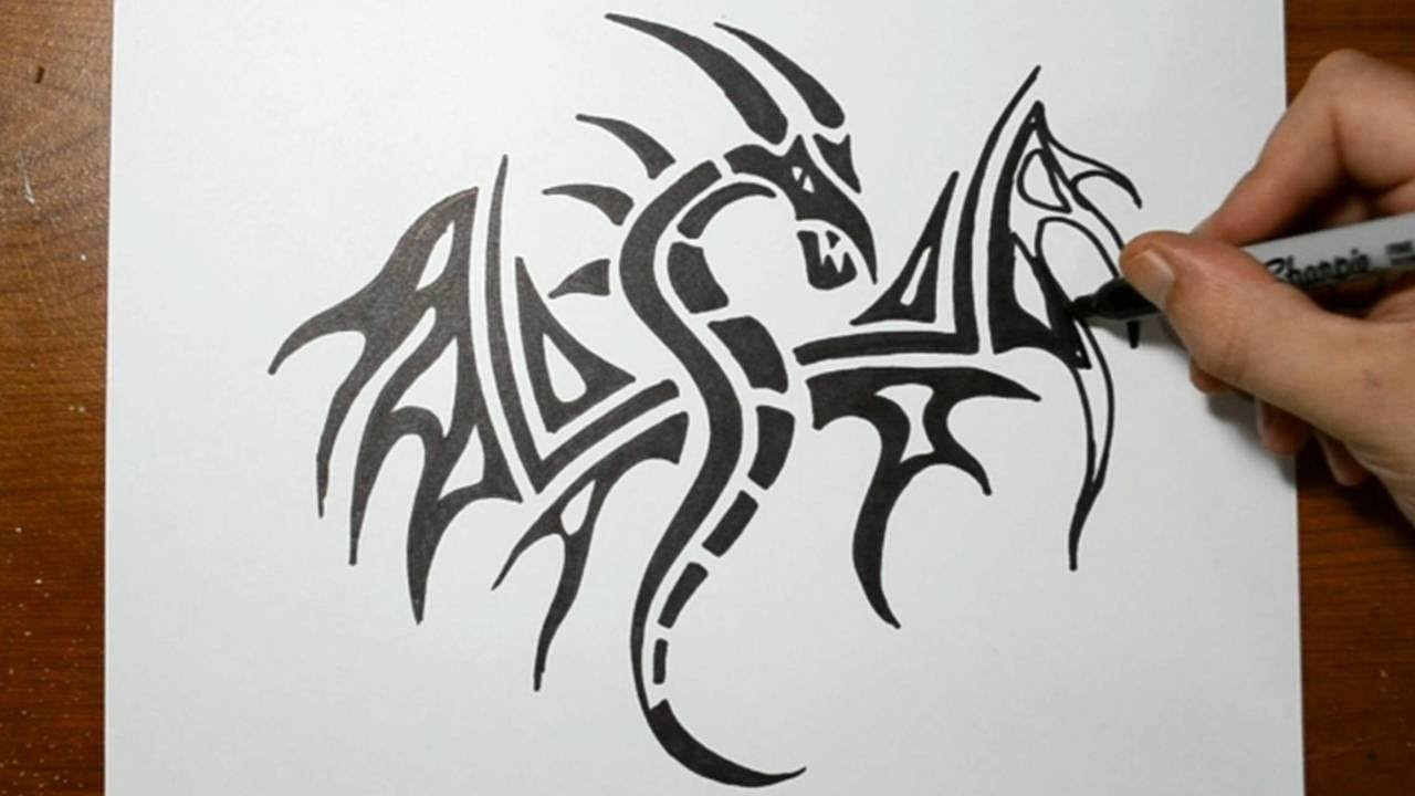 draw how to draw a tribal dragon tattoo design sketch 3 sketching out a dragon head turned. Black Bedroom Furniture Sets. Home Design Ideas