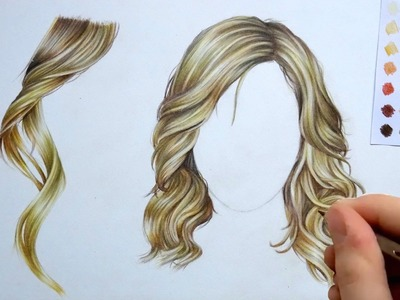 How to draw and colour Hair : pencil tutorial
