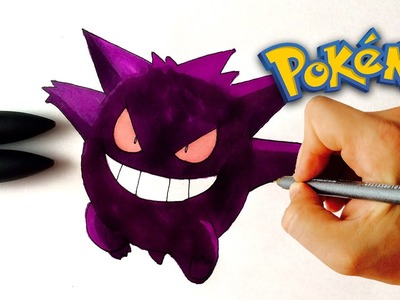 ♥ How to draw Gengar EX from Pokemon | Drawing tutorial
