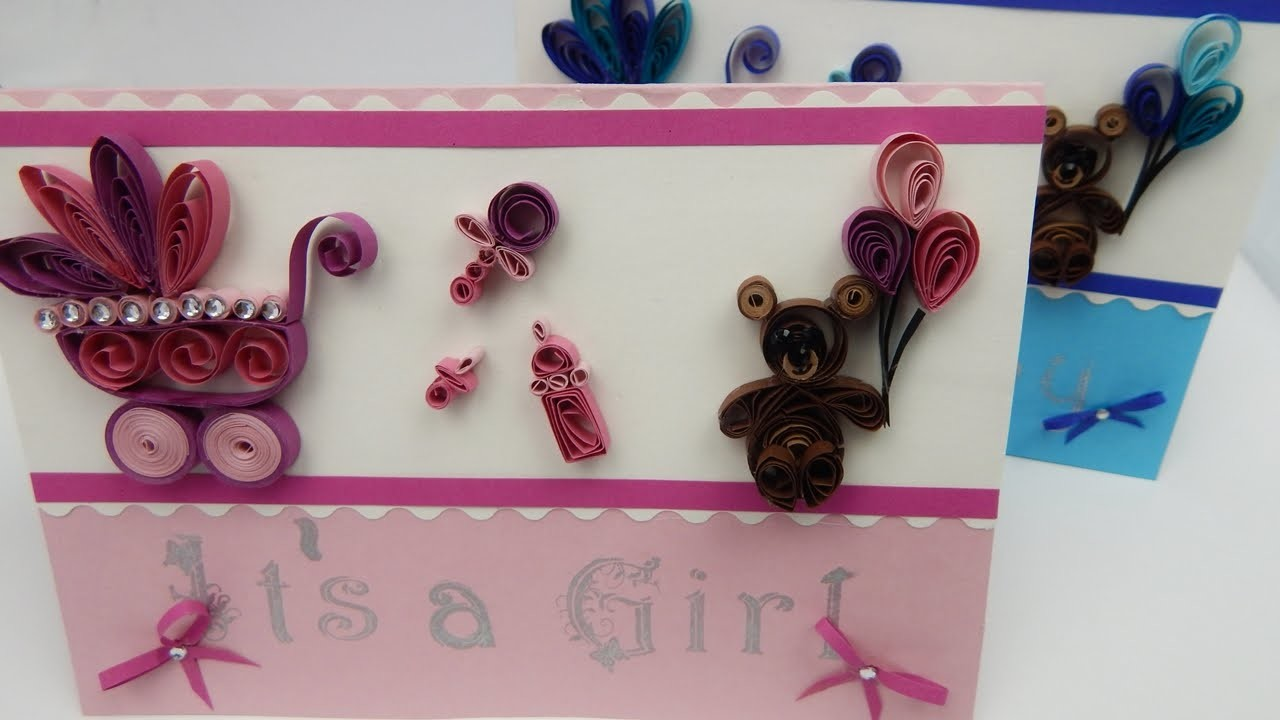 How to make a greeting card Its a boy.girl baby childbirth DIY (tutorial + free pattern)