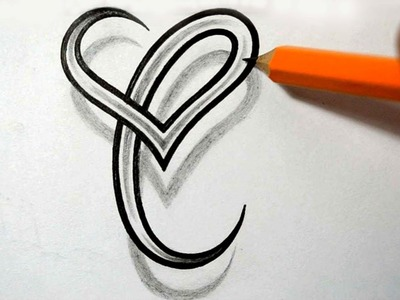 Initial C and Heart Combined Together - Celtic Weave Style - Letter Tattoo Design